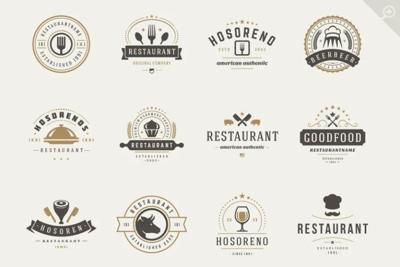16 Restaurant Logotypes and Badges Bundle