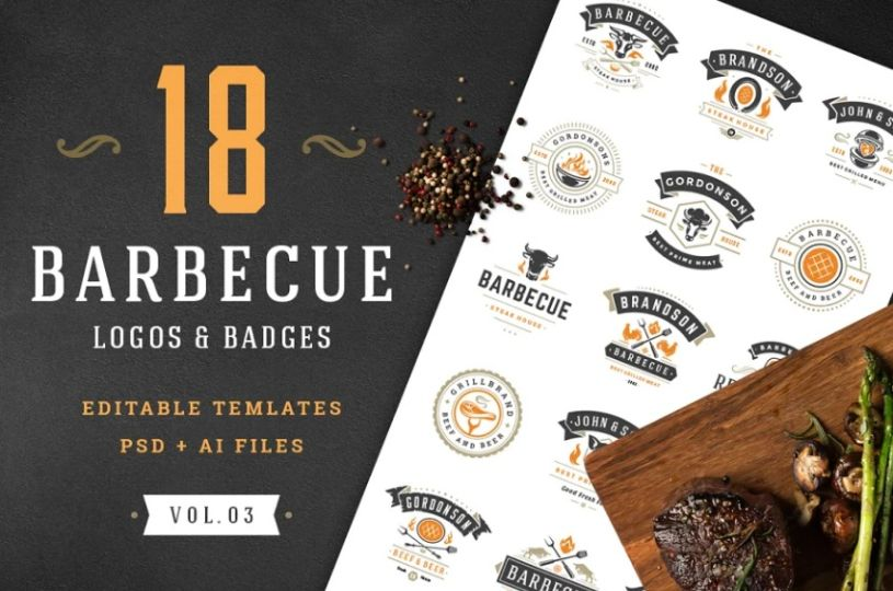 18 Barbecue Logo and Badges Template
