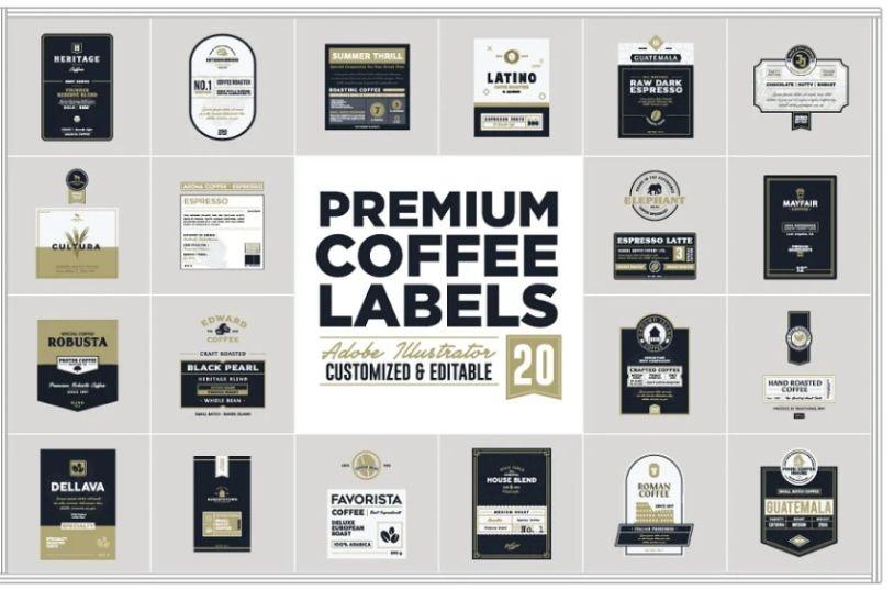 20 Premium Coffee Labels
