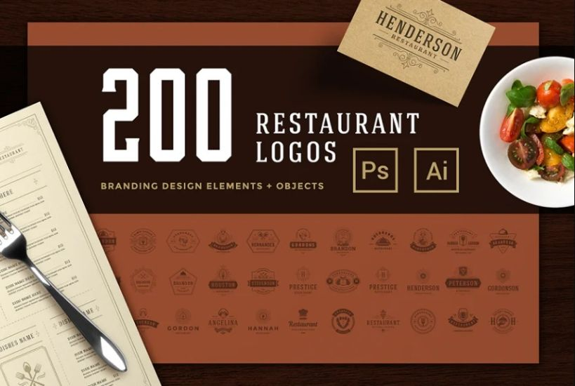 200 Restaurant Logos and Badges Bundle