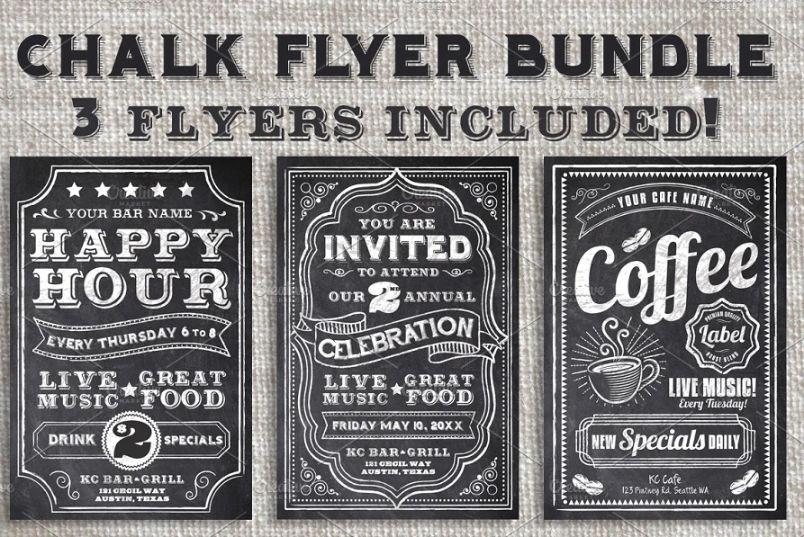 3 Chalk Style Flyer Bundle