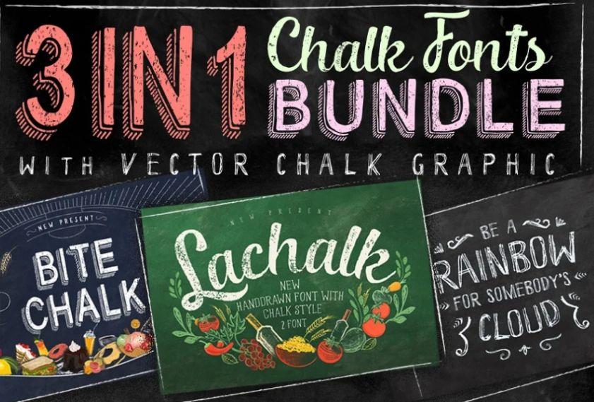 3 in 1 Chalk Fonts Bundle