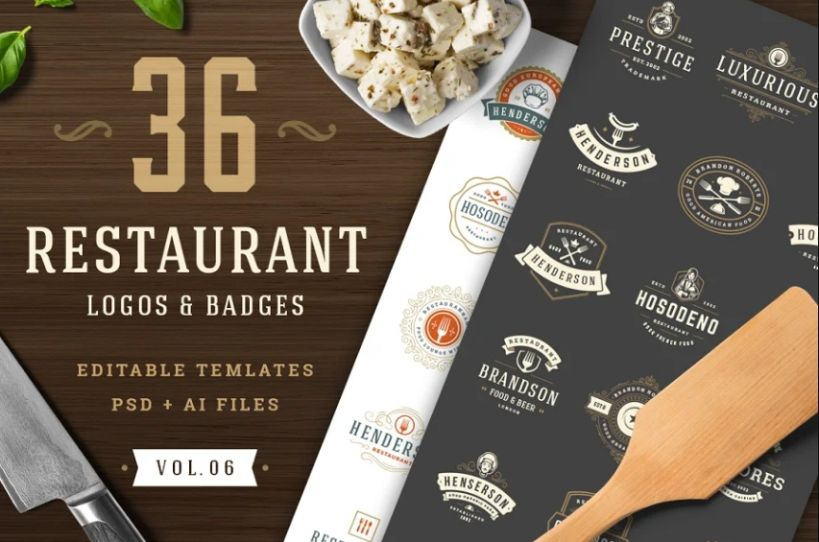 36 Restaurant Logos and Badges Template