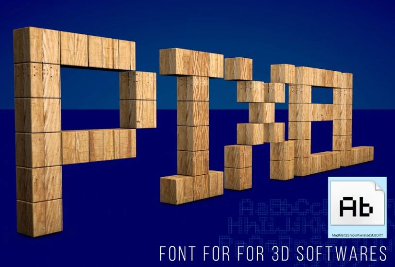 3D pixelated Fonts