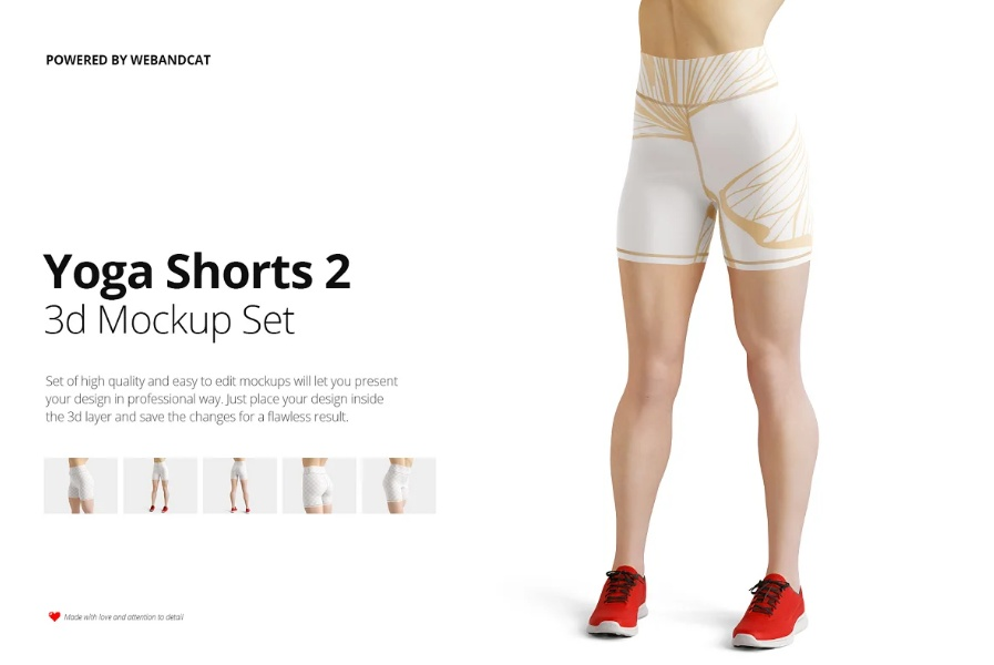 3D Yoga Shorts Mockup