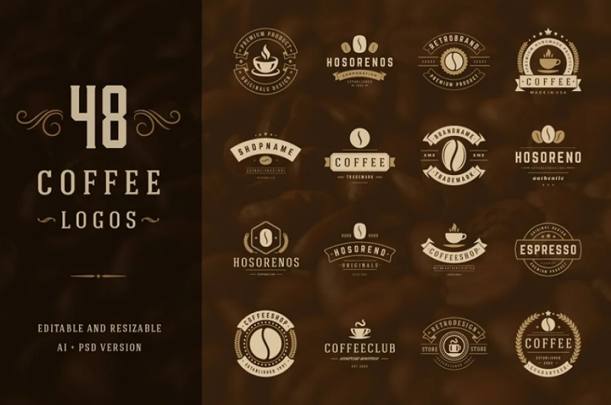 48 Coffee Logo and Badges Design