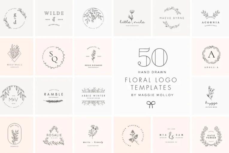 50 Hand Drawn Flower Logo Design