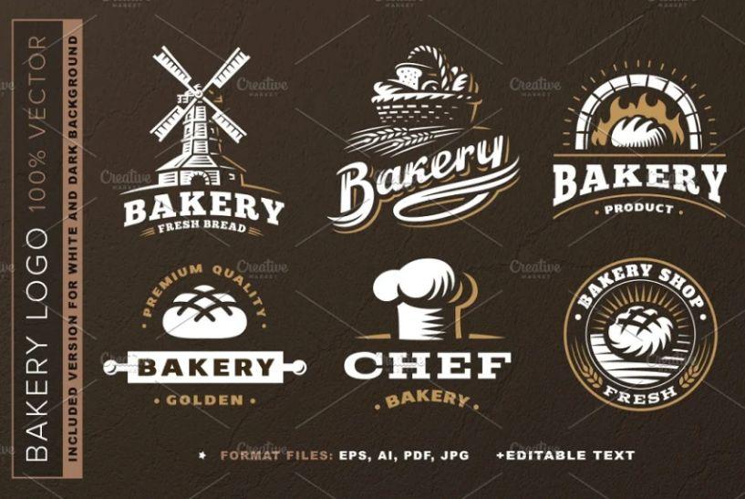 6 Unique Bakery Logo Set