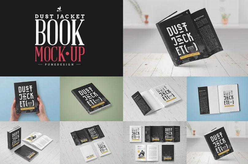 8 Dust Jacket Books Mockup PSD