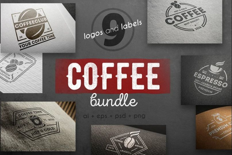 9 Coffee Logo and Labels Kit