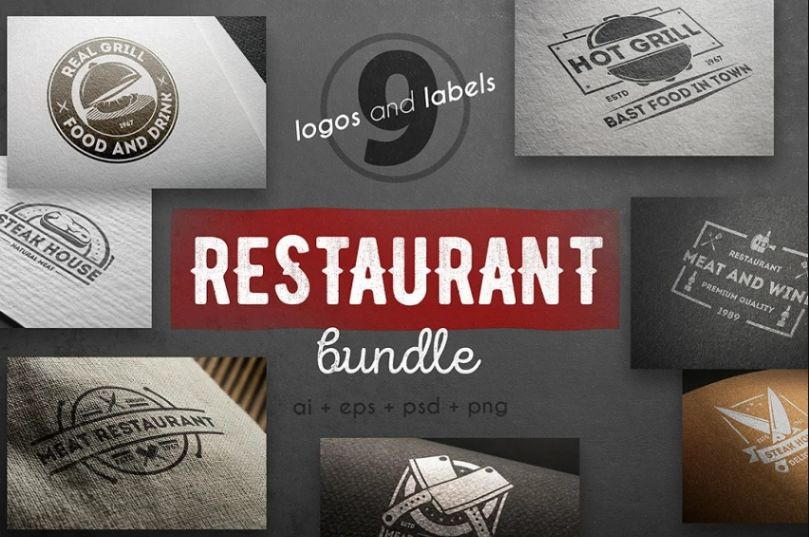 9 Restaurant Logos Template Bundle