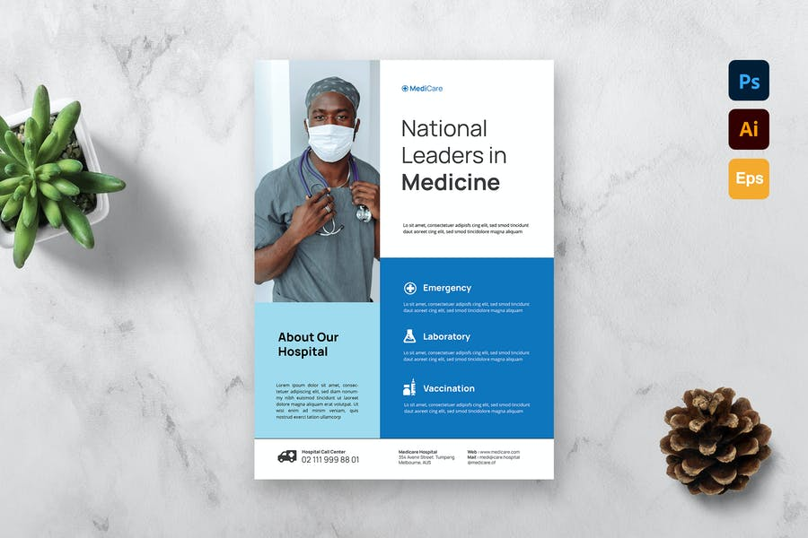 A4 Medical Business Flyer Template