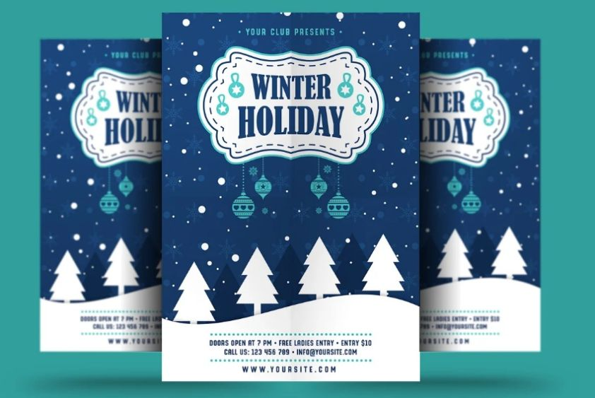 A4 Winter Holiday Flyer Template