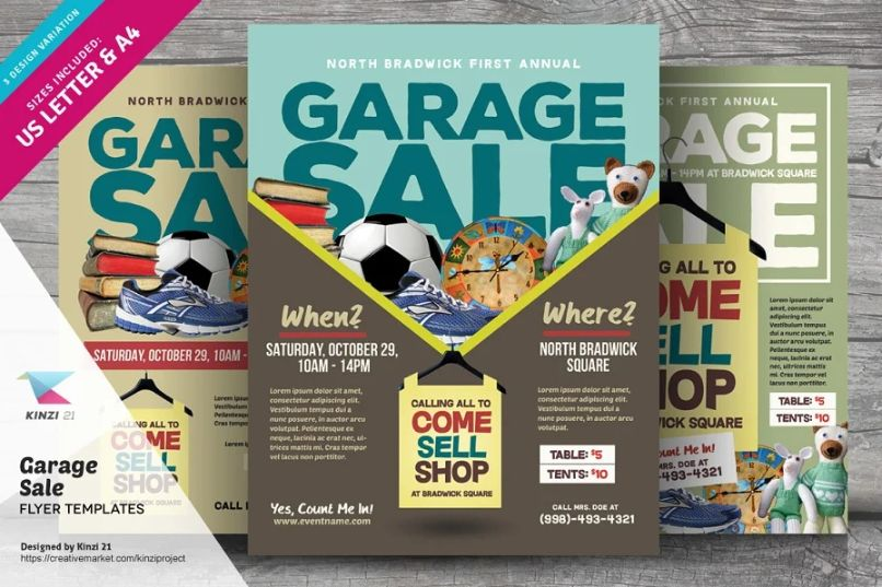 A4 and US Letter Garage Sale Flyers