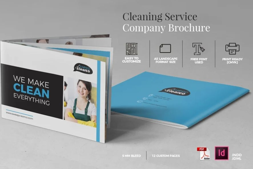 A5 Cleaning Srvices Brochure Template