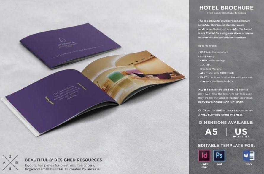 A5 Hotel Brochure Template PSD