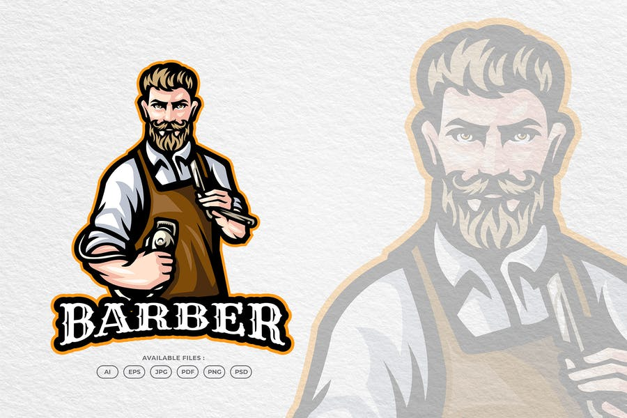 Barber Shop Mascot Logo