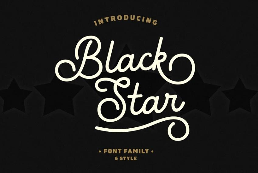 Black Star Textured Font