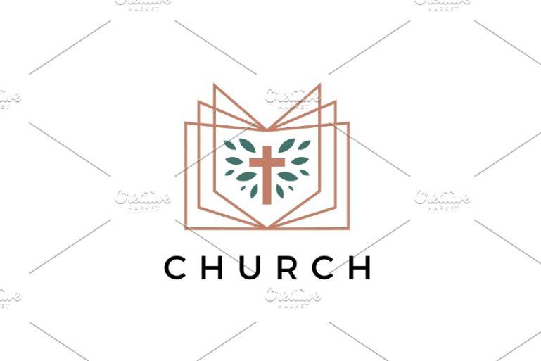 Book and Cross Logo Design