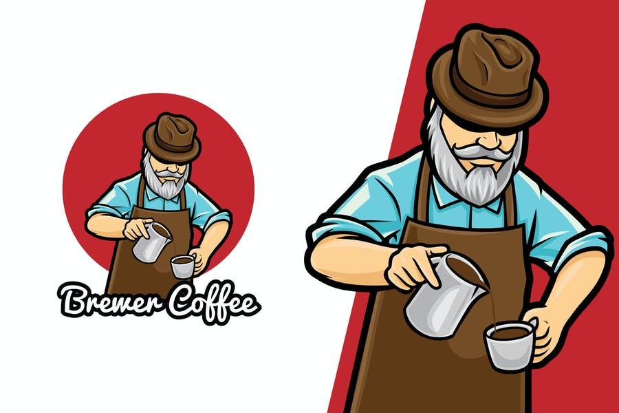 Brewer Coffee Logo Mascot