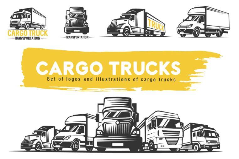Cargo Truck Logo Design Set