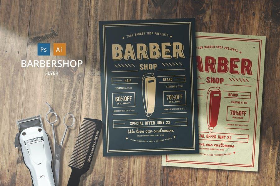 Chalk Style Barber Shop Flyer