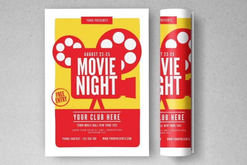 Classy Movie Night Flyer Template