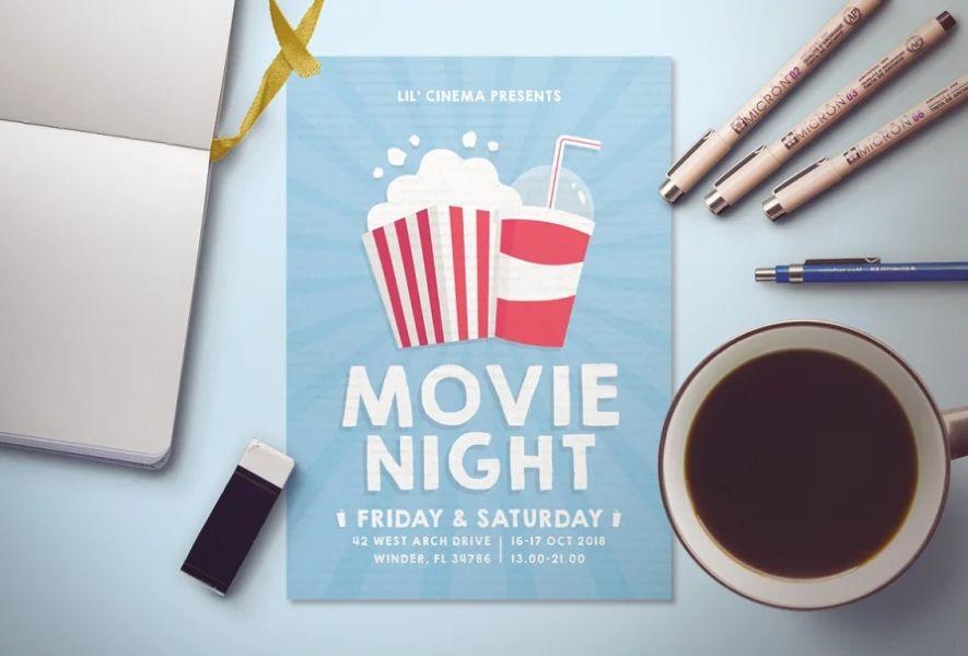 Customizable Movie Night Flyers