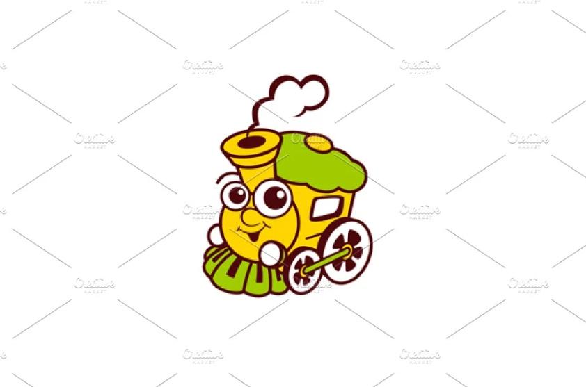 Cute Train Logo Template