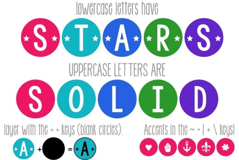 Decorative Star Layered Font