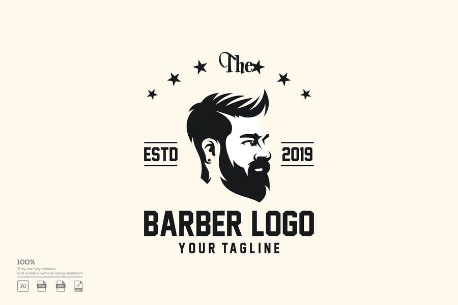 Editable Barber Logo Template