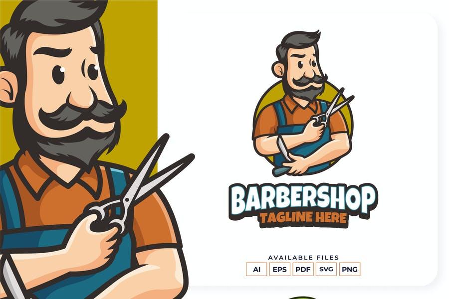 Editable Barbershop Mascot Logo