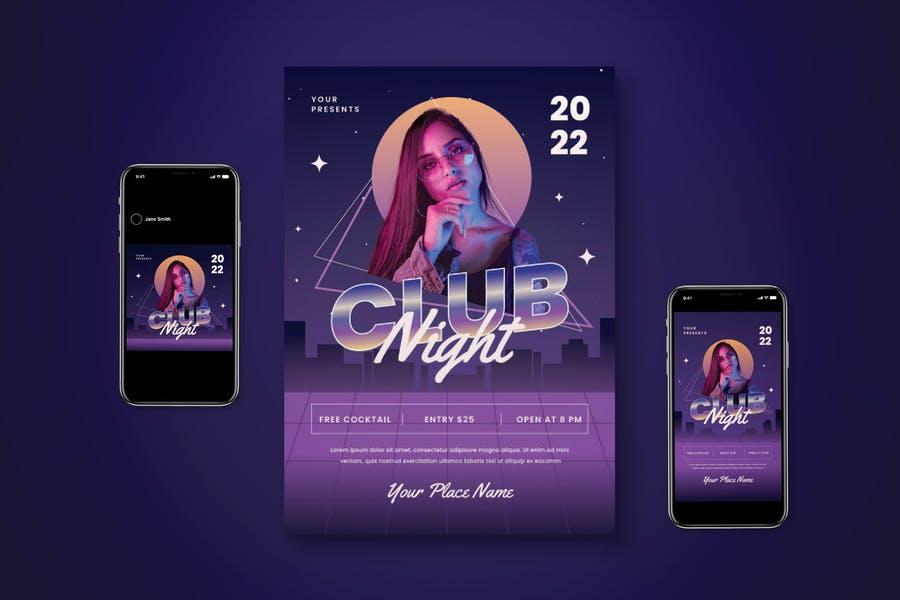 Editable Club Night Flyer Set