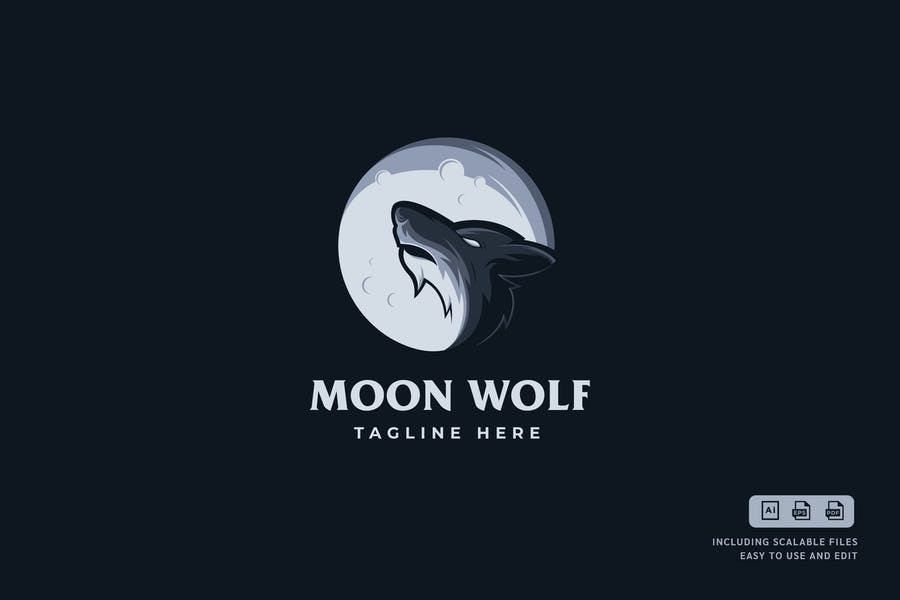 Editable Moon Logo Template