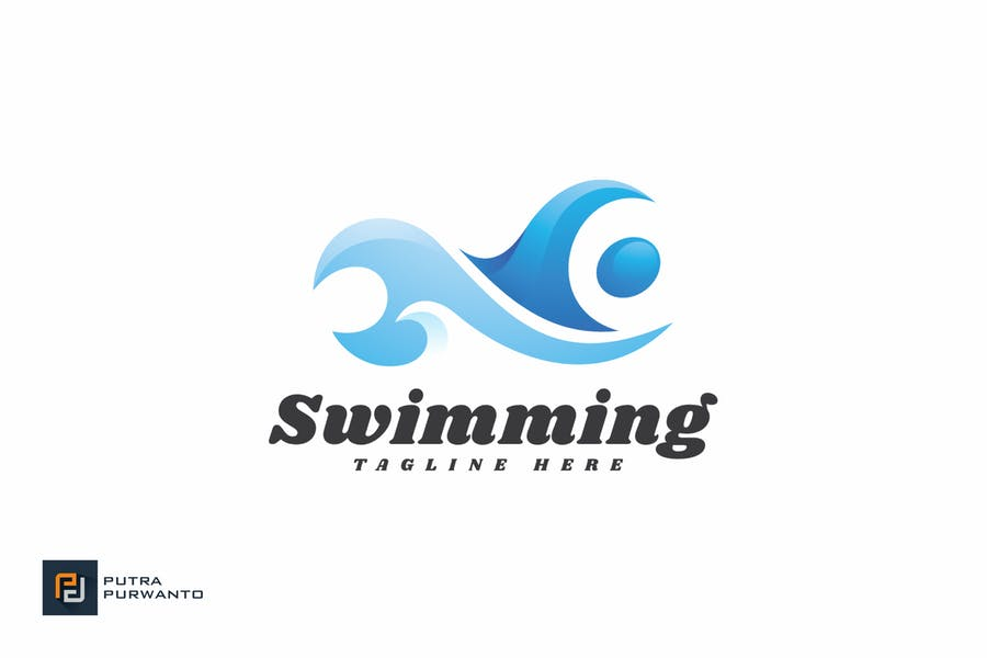 Editable Swimming Logo Design
