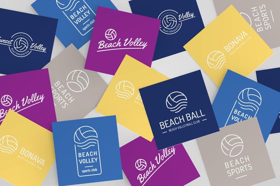 Editable Volleyball Logo Set