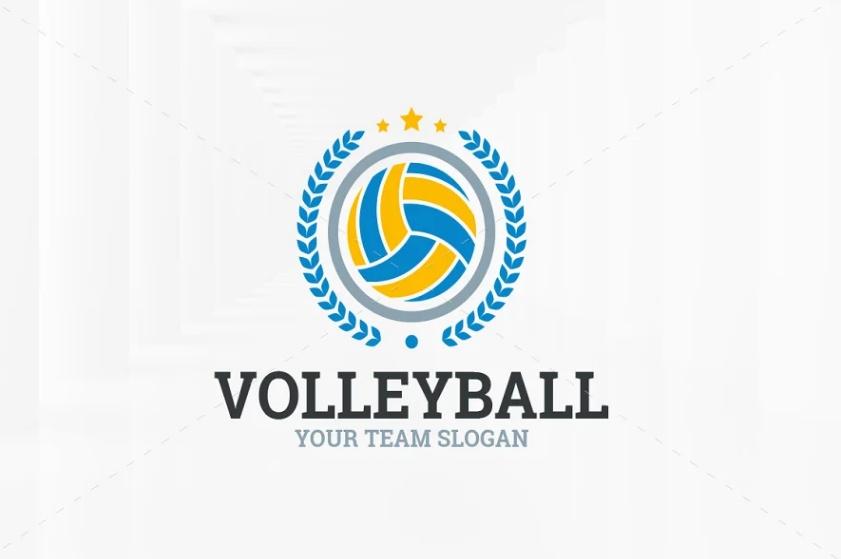 Editable Volleyball Logo Template