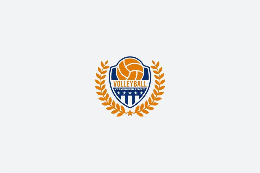 Editable Volleyball Shield Logo