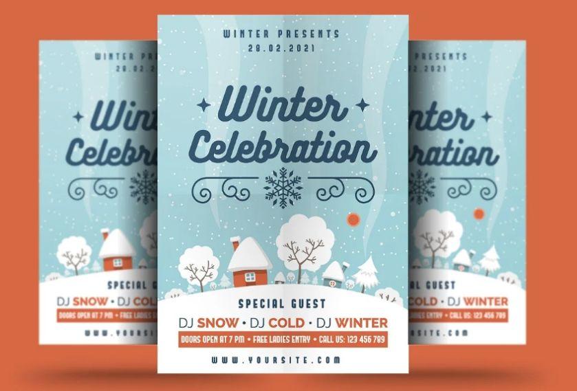 Editable Winter Holidays Flyer
