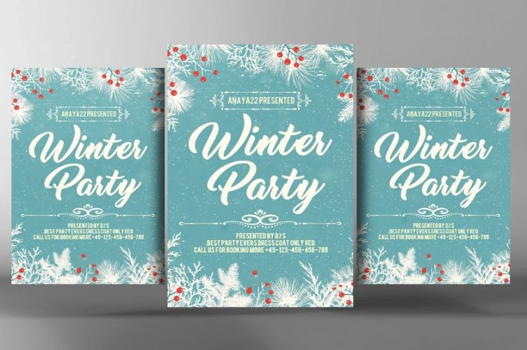 Editable Winter Party Flyers