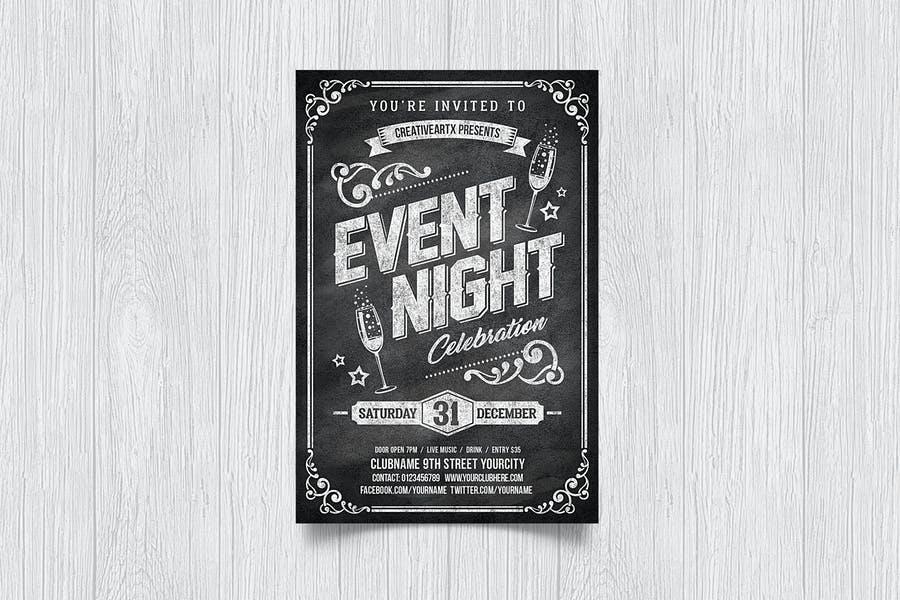 Event Night Chalk Flyers