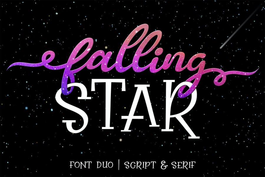 Falling Star Calligraphy Script