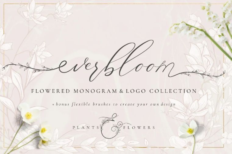 Floral Monogram Logo Template