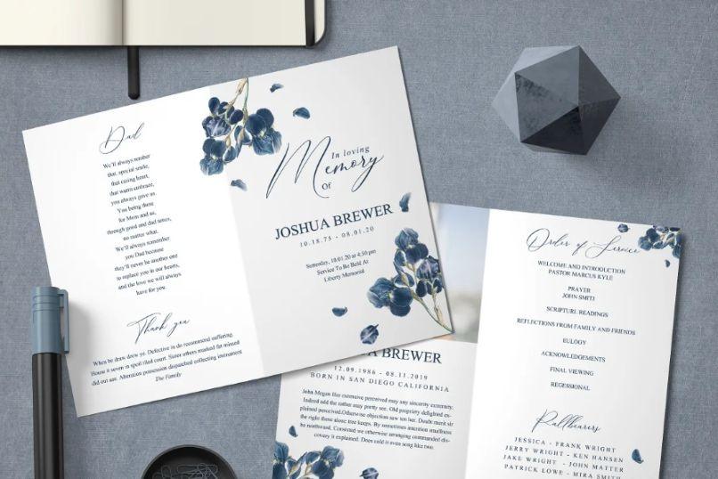 Floral Style Bi Fold Funeral Brochure