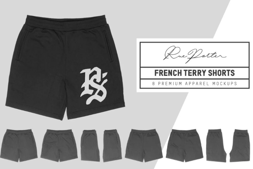 French Terry Shorts Mockup Template
