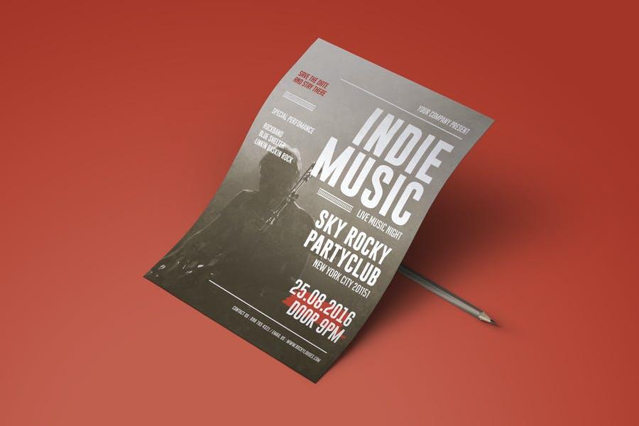 Fully Editable Indie Music Flyer