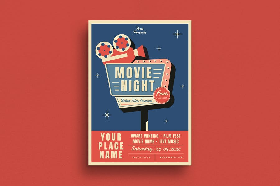 Fully Editable Movie Night Flyer