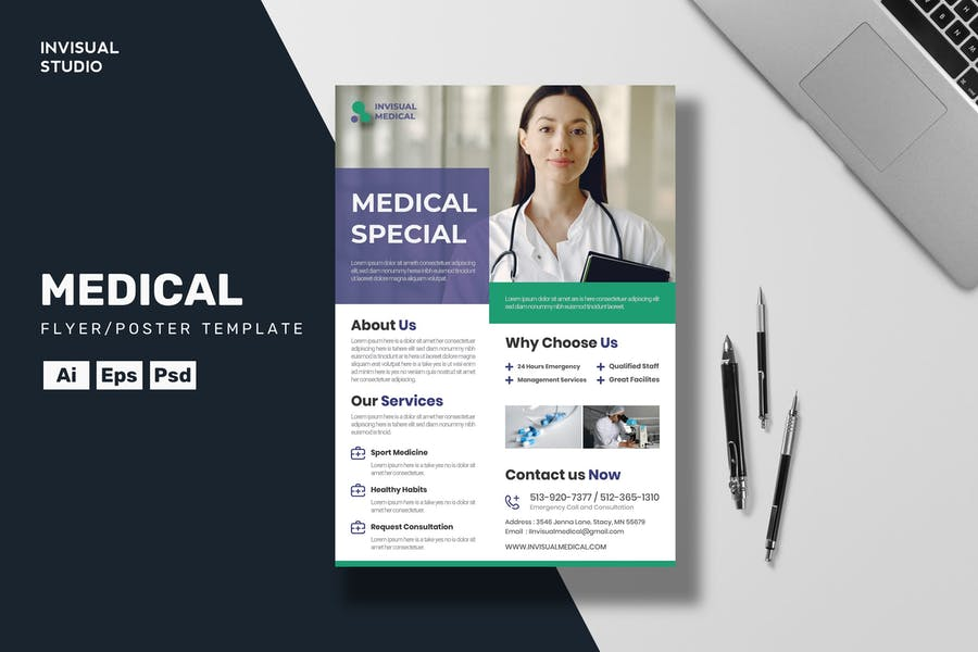Fully Layered Medical Care Flyer