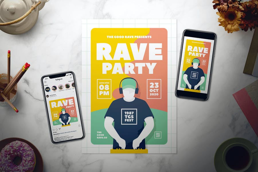 Fully Layered Rave Flyers