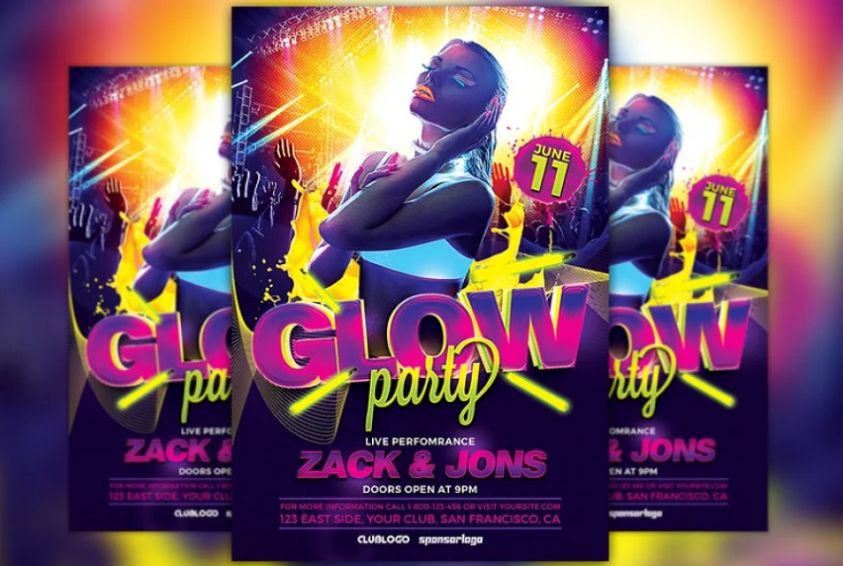 Glow Rave Party Flyers